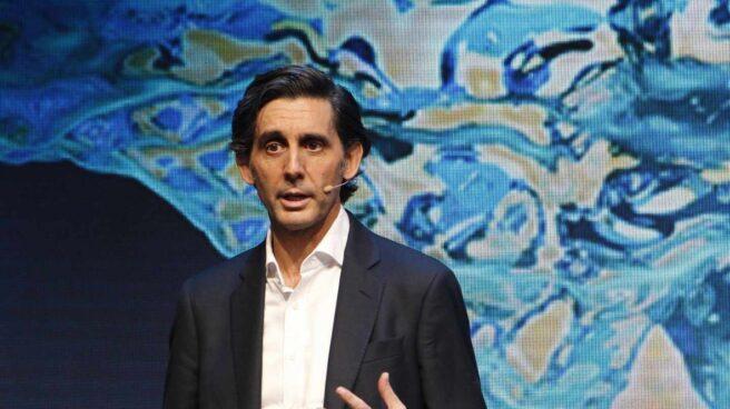 El presidente de Telefónica, José María Álvarez-Pallete, durante su intervención en el Mobile World Congress de Barcelona.