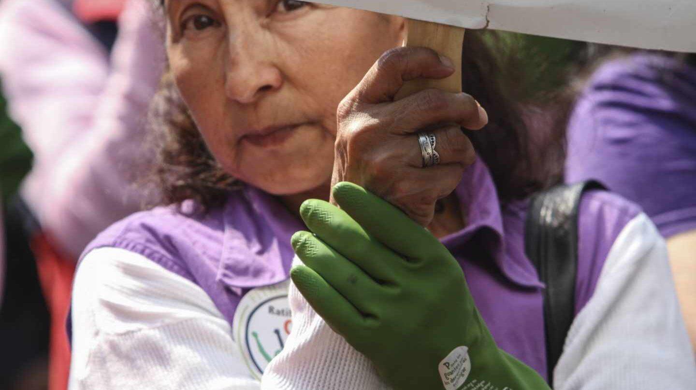 Trabajadora del hogar en una manifestación