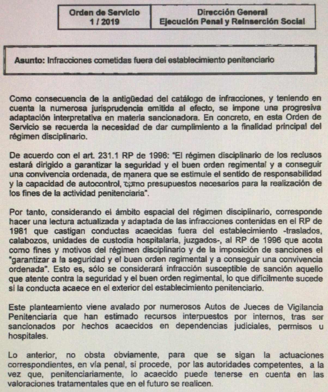 Nueva orden de servicio relativa a infracciones fuera de los establecimientos penitenciarios.
