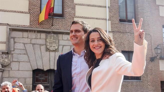 Albert Rivera e Inés Arrimadas este sábado en Madrid durante la presentación de su candidatura en Barcelona