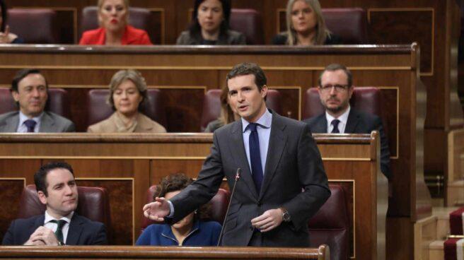 Pablo Casado, en la sesión de control en el Congreso.