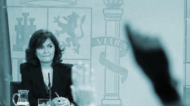 La vicepresidenta del Gobierno, Carmen Calvo, en la comparecencia posterior al Consejo de Ministros.