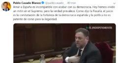 Tuit de Casado sobre la declaración de Junqueras.