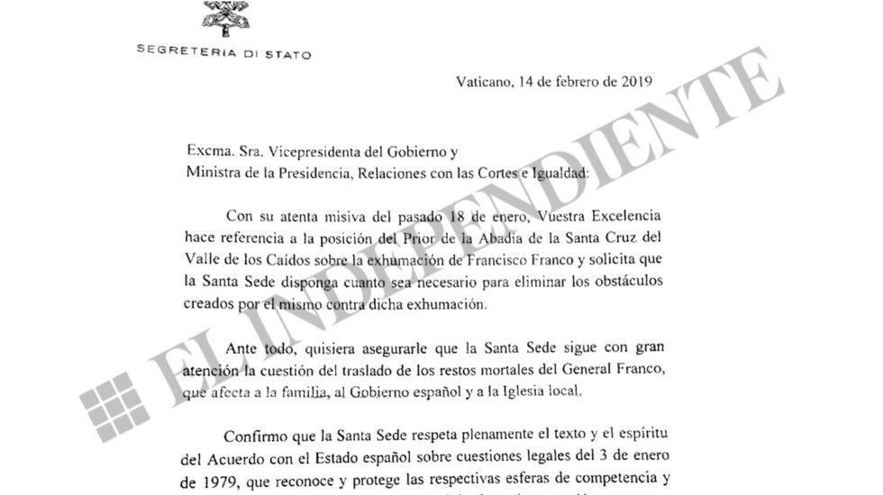 Carta enviada por el cardenal Parolin a Carmen Calvo el pasado 14 de febrero.