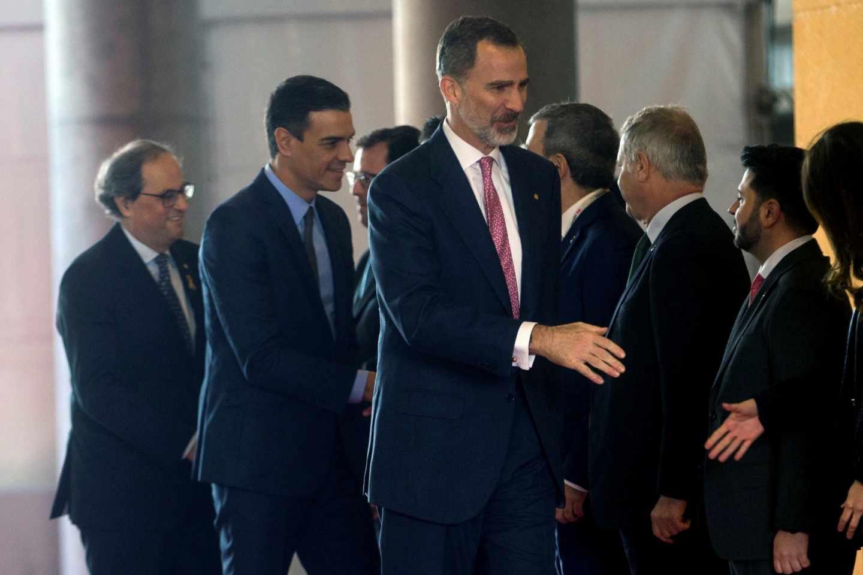 Felipe VI, Pedro Sánchez y Quim Torra, durante la inauguración del Mobile World Congress.