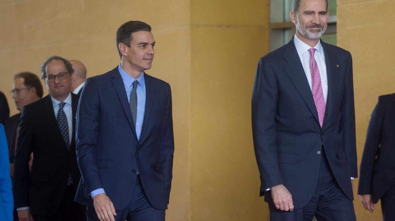 Felipe VI, Pedro Sánchez y Quim Torra, en el Mobile World Congress.
