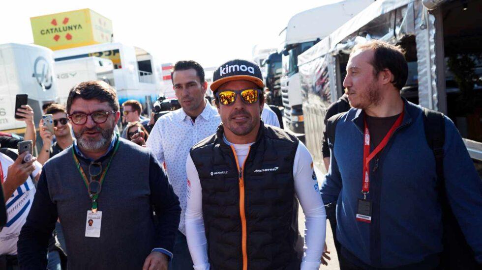 Fernando Alonso, durante su visita a Montmeló el martes.