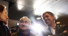 Los líderes de CCOO y UGT, Unai Sordo y Pepe Álvarez, en el acto organizado en la Caja Mágica de Madrid para exigir a Pedro Sánchez que cumpla sus promesas en materia laboral.