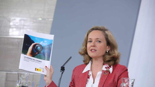 La ministra de Economía, Nadia Calviño, tras la reunión del Consejo de Ministros.