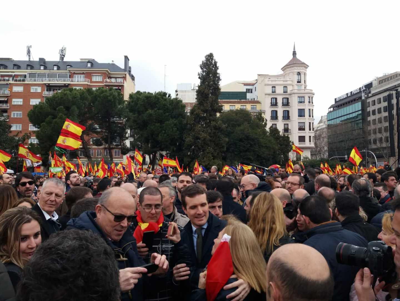 Pablo Casado, en la manifestación de la plaza de Colón en Madrid.