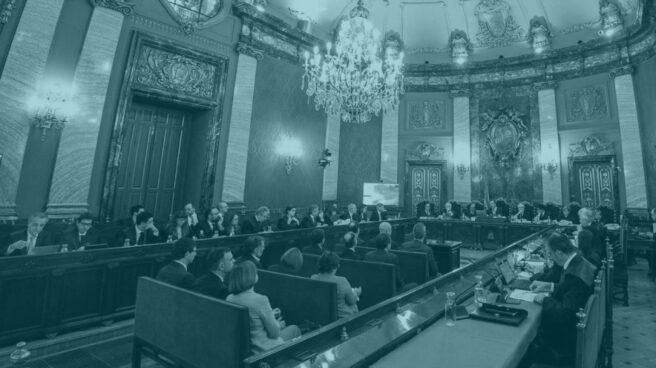 Sala del Tribunal Supremo durante el juicio al procés.