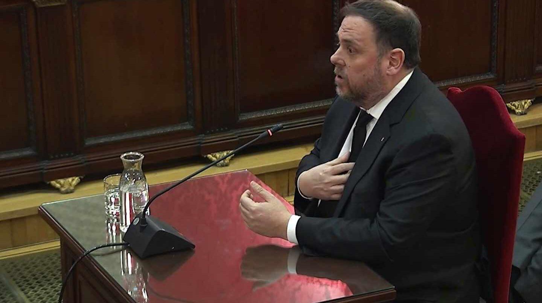 Oriol Junqueras, durante su declaración en el juicio del 'procès'.