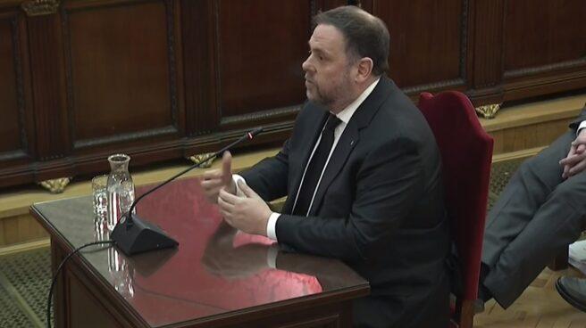 Oriol Junqueras, durante su interrogatorio en el Tribunal Supremo.