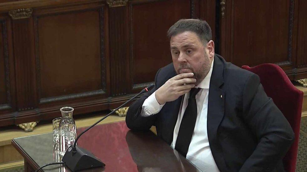 Oriol Junqueras, durante su declaración ante el Tribunal Supremo en el juicio del procés.