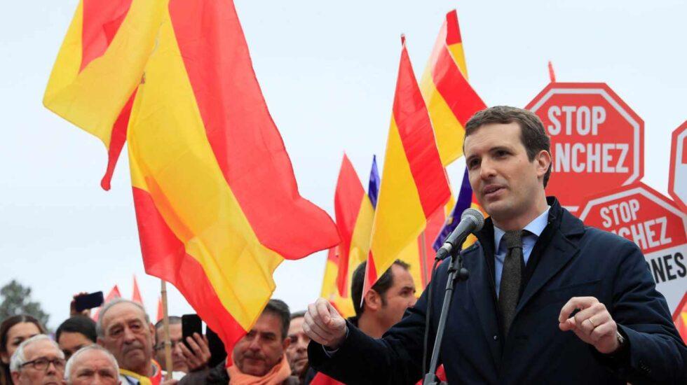 Pablo Casado, en la manifestación de Colón.