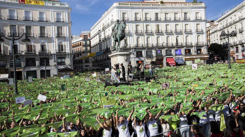 Manifestación de PACMA contra la tauromaquia en la Puerta del Sol de Madrid.
