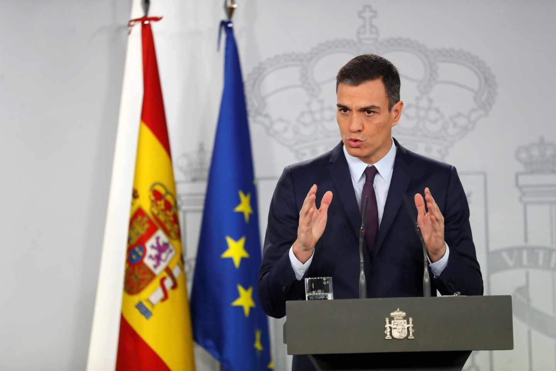 Pedro Sánchez, en rueda de prensa para anunciar la fecha de las elecciones generales.