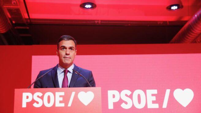 Pedro Sáanchez presenta el eslogan de la campaña electoral del PSOE.