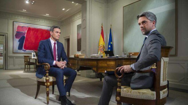 Pedro Sánchez, durante su entrevista en TVE.