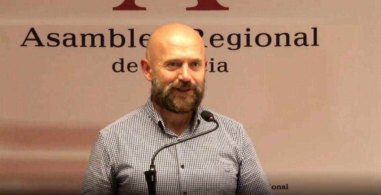 El geólogo y edafólogo José Matías Peñas durante su intervención en la Asamblea de Murcia el pasado miércoles.