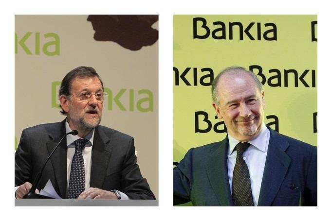 El ex presidente del Gobierno, Mariano Rajoy, y Rodrigo Rato, ex presidente de Bankia.