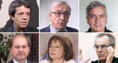De izquierda a derecha y de arriba a abajo, Iñaki Rivera, Iñaki Lasagabaster, José Manuel Castells, Guillermo Portilla, Mercè Barceló y Javier Pérez Royo.