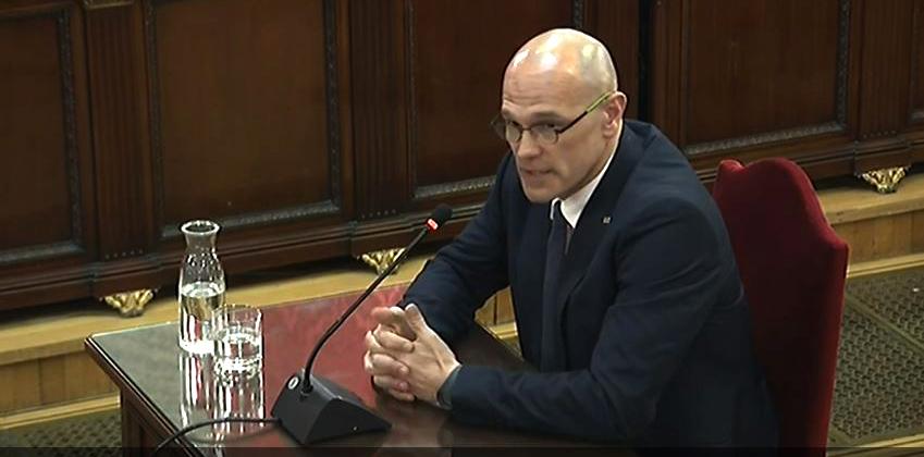 Raúl Romeva, durante su declaración ante el Tribunal Supremo.