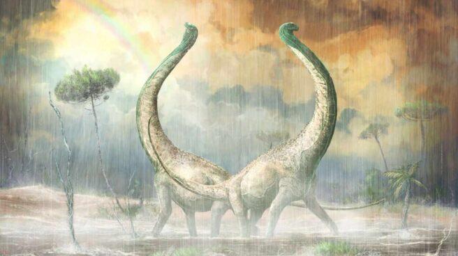 Recreación de dos titanosaurios Mnyamawamtuka