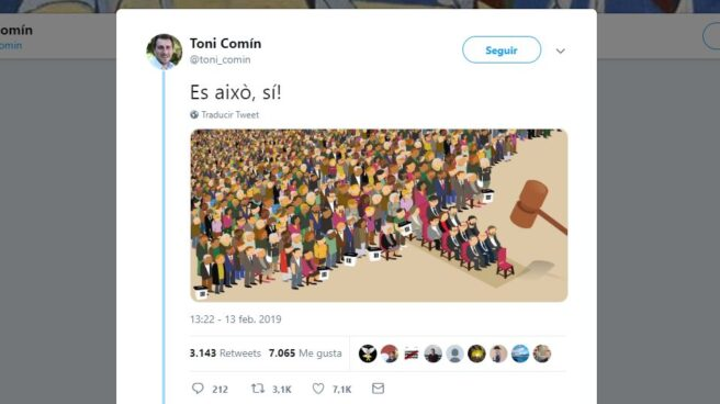 Captura de pantalla de la cuenta de Twitter de Toni Comín.