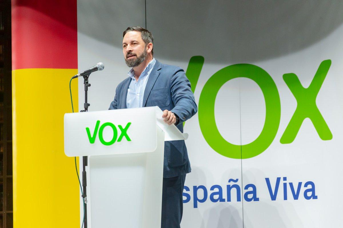 Santiago Abascal, en el acto de Vox en Madrid.