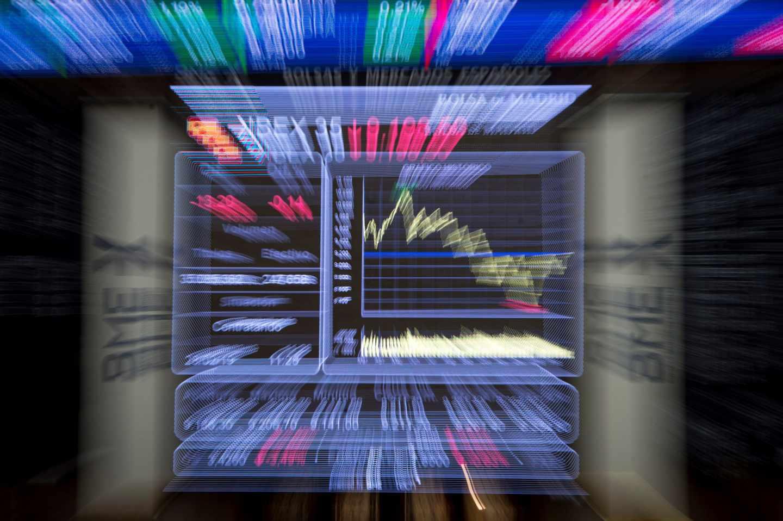 Imagen de un panel de la Bolsa del Ibex 35