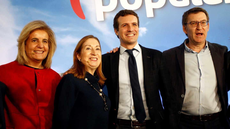 Ana Pastor participó este sábado en un acto de partido en Galicia junto a Pablo Casado, Alberto Núñez Feijóo y Fátima Báñez