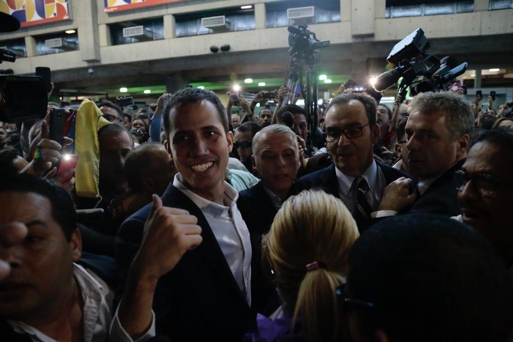 Juan Guaidó , a su llegada al aeropuerto Simón Bolívar de Caracas.
