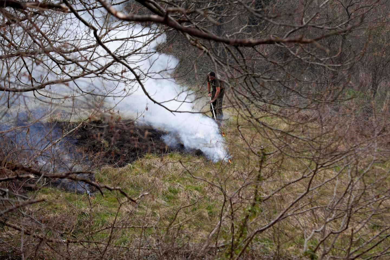 Un funcionario del Principado apaga restos de un incendio en el concejo de Belmonte.