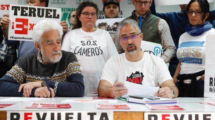 Asociaciones vecinales presentan la manifestación de 'La España vaciada'.