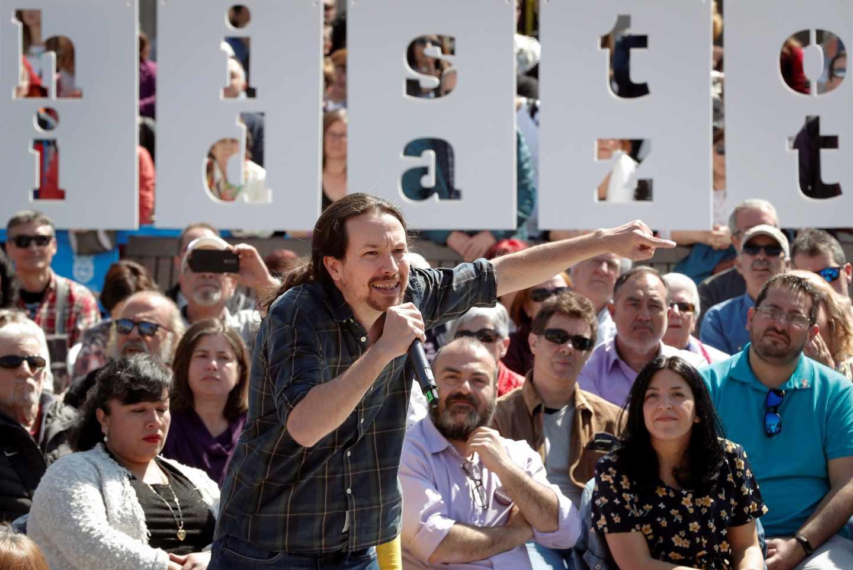 Pablo Iglesias, líder de Podemos, en Pamplona.