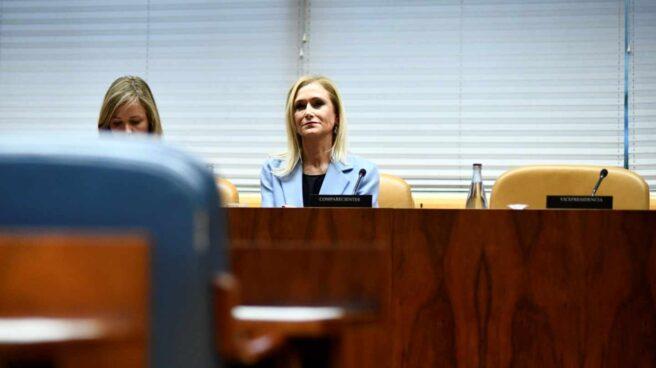 Cristina Cifuentes, durante su comparecencia en la comisión de investigación constituida en la Asamblea de Madrid.