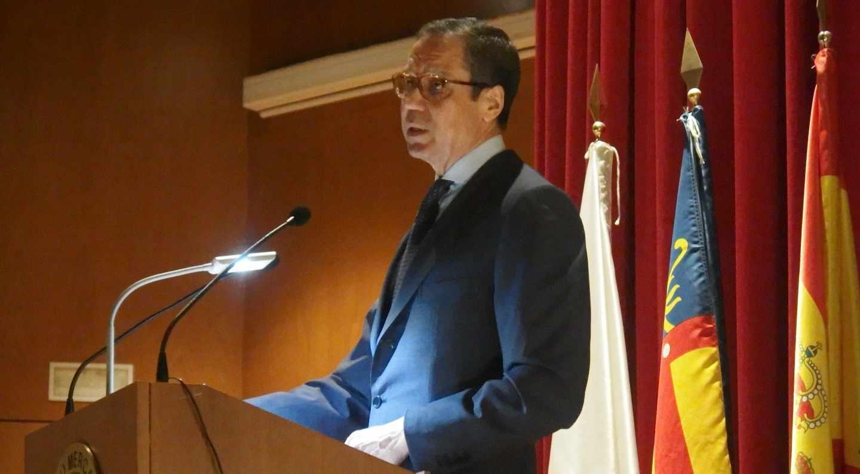 El ex ministro Eduardo Zaplana, pronunciando una conferencia durante su etapa como alto ejecutivo de Telefónica.