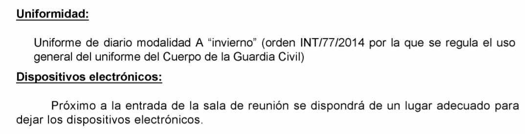Convocatoria del pleno del Consejo de la Guardia Civil para este miércoles, advirtiendo de que se requisarán los móviles.
