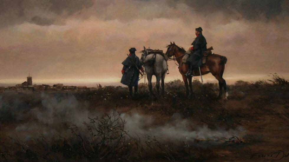 Patrulla a caballo de la Guardia Civil en 1900, en una pintura de Augusto Ferrer-Dalmau.