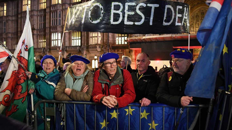 Manifestantes a favor y en contra del Brexit en Westminster.