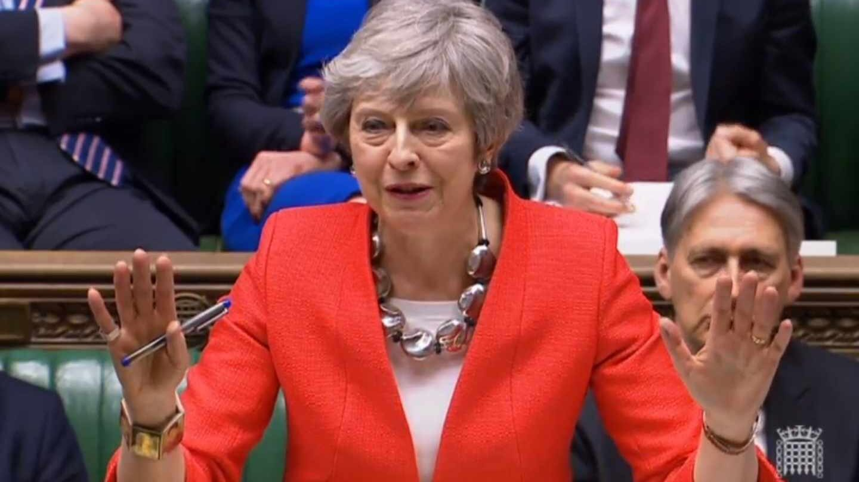 La primera ministra británica, Theresa May, comparece en el Parlamento.
