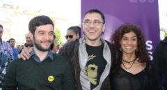 Pablo Bustinduy, Juan Carlos Monedero y Rosana Alonso en junio de 2016.