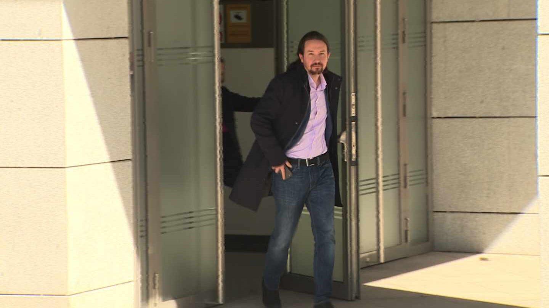 PPablo Iglesias, saliendo de la Audiencia Nacional tras declarar ante el juez del 'caso Villarejo'.