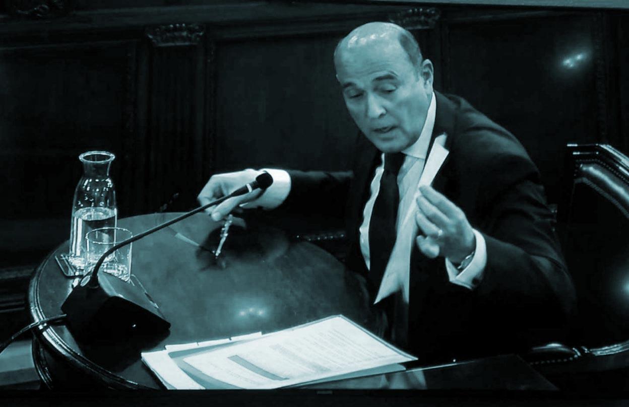 Diego Pérez de los Cobos, durante su declaración en el juicio del 'procés.