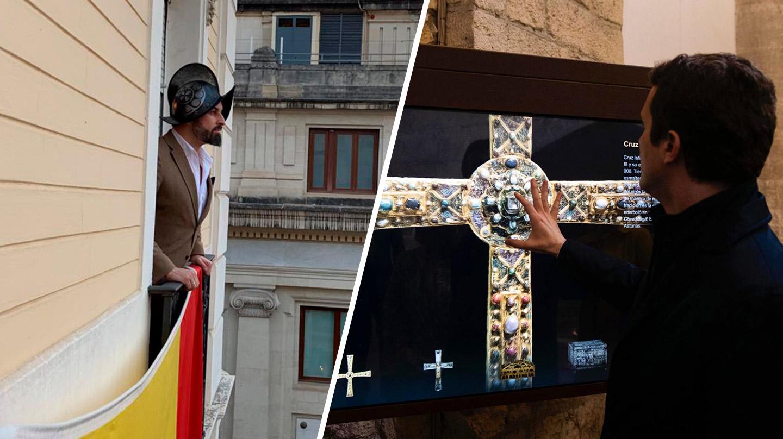 Santiago Abascal y Pablo Casado, en las imágenes publicadas este miércoles por sus partidos.