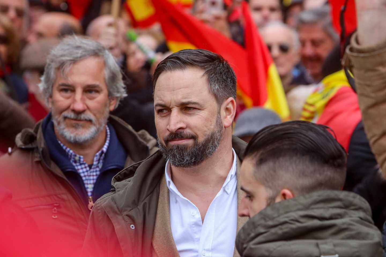 Santiago Abascal, líder de Vox, durante la manifestación de la plaza de Colón.