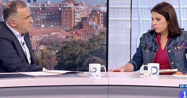 Adriana Lastra, en una entrevista en TVE.