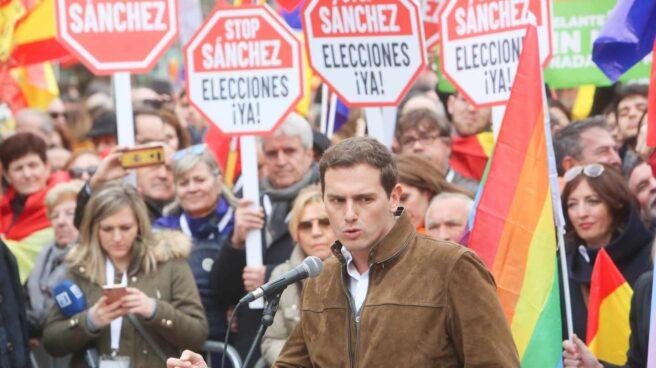 Albert Rivera, en la manifestación de Colón el pasado 10 de febrero.