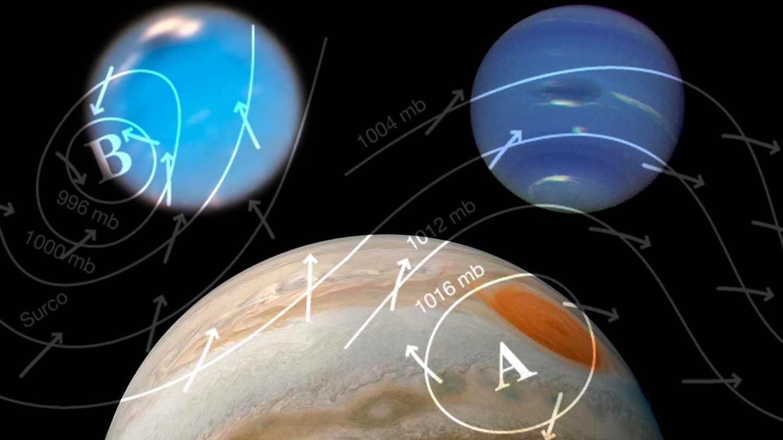 Tormenta gigante en Neptuno y ojo anticiclónico en Júpiter